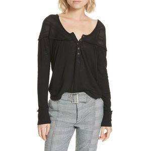 Free People NWT Black Down Under Henley Top